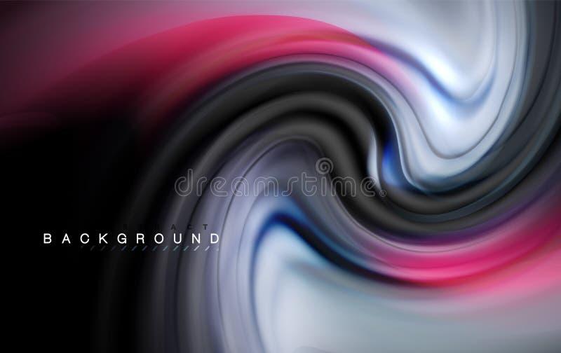 De vloeibare vloeibare kleuren ontwerpen, kleurrijke marmeren of plastic golvende textuurachtergrond, gloeiende multicolored elem vector illustratie