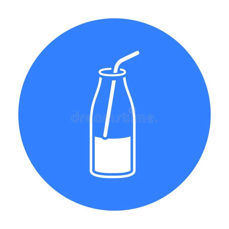 De vloeibare zwarte van het yoghurtpictogram Enige bio, eco, biologisch productpictogram van de grote melkzwarte vector illustratie