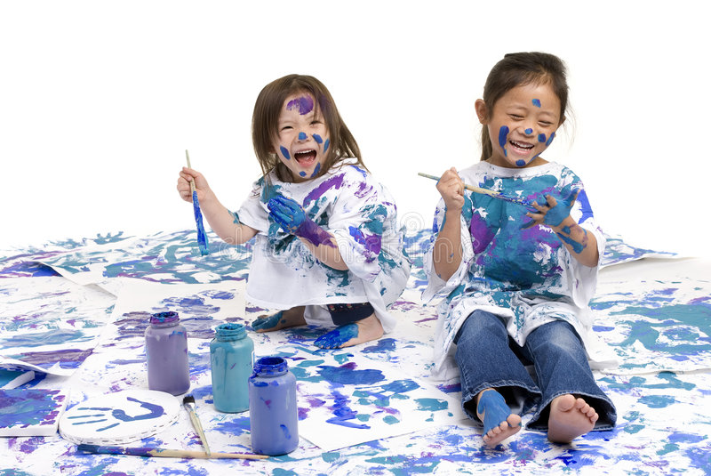 De vloer van de Meisjes van kinderjaren het schilderen stock fotografie