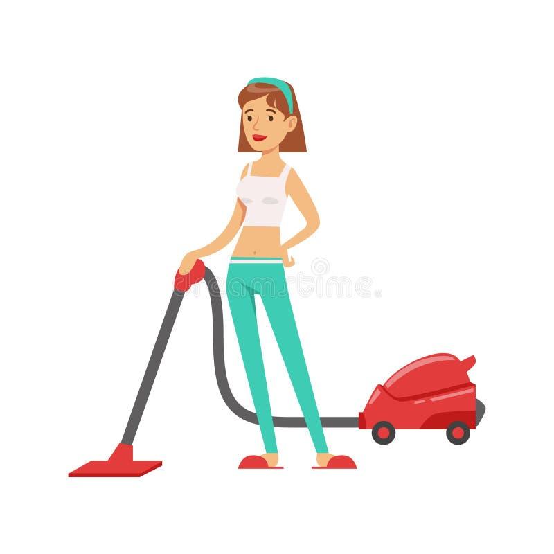 De Vloer van Vacuum Cleaning The van de vrouwenhuisvrouw, Klassieke Huishoudenplicht van de Illustratie van de blijven-bij-Huisvr royalty-vrije illustratie