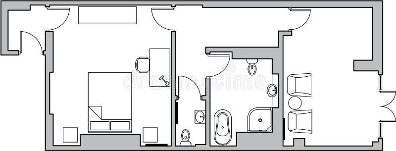 De vloerplan van de architectuur royalty-vrije illustratie
