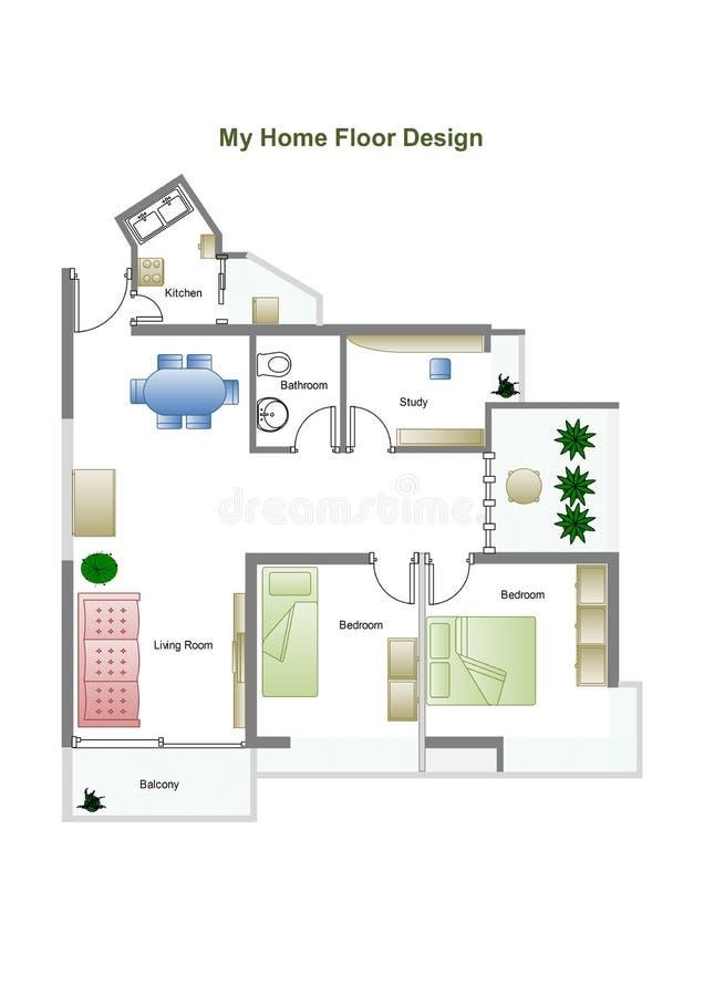 De vloerplan van het huis vector illustratie