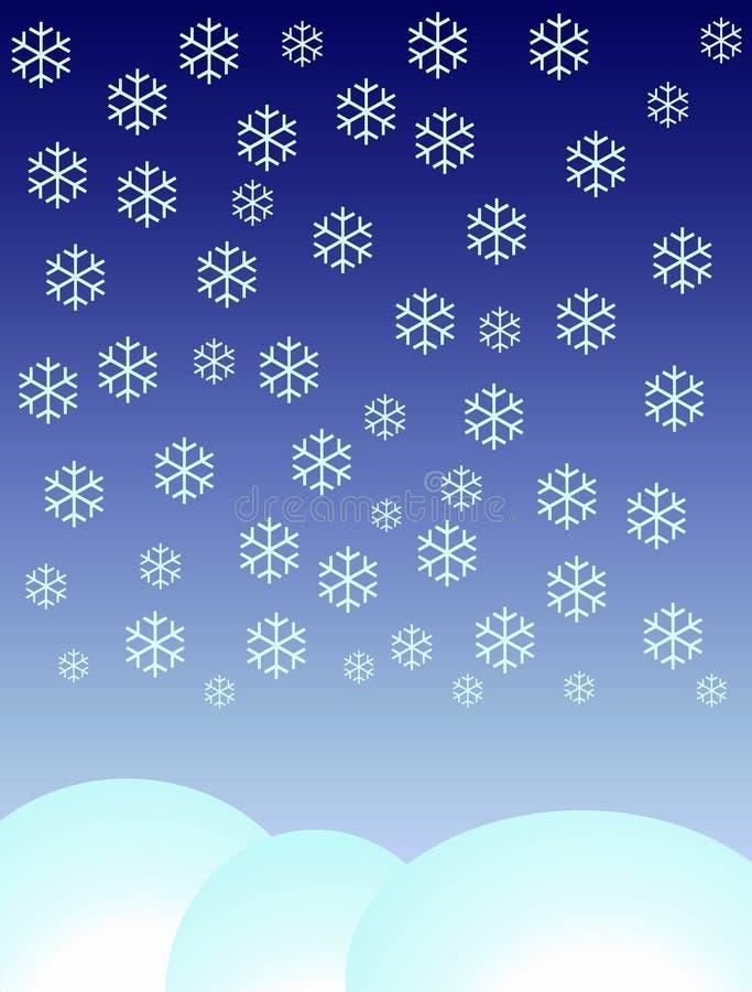 De vlokken die van de sneeuw neer vallen vector illustratie