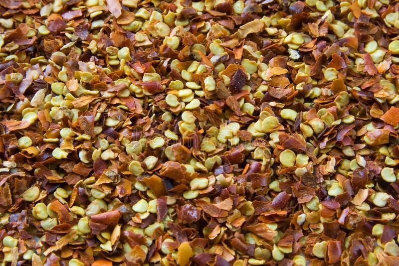 De Vlokken van de Spaanse peper stock afbeeldingen