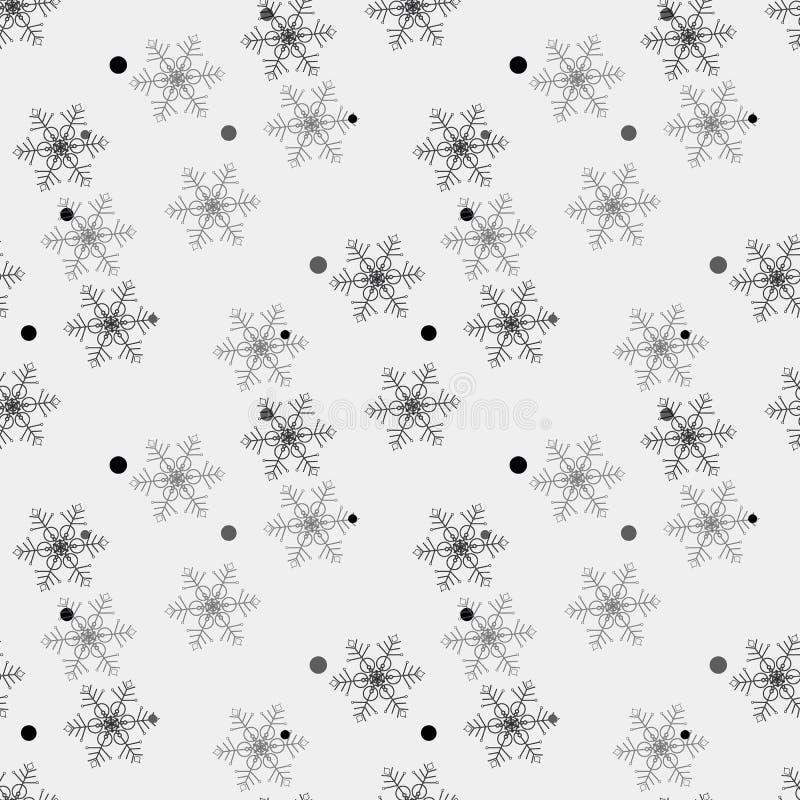 De Vlokkenkrabbels van de de wintersneeuw Zwart-wit Naadloos Patroon Als achtergrond hand-drawn vectorillustratie Patroonmonster stock illustratie
