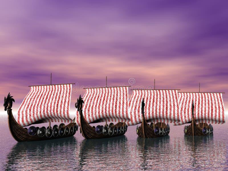 De Vloot van Viking vector illustratie