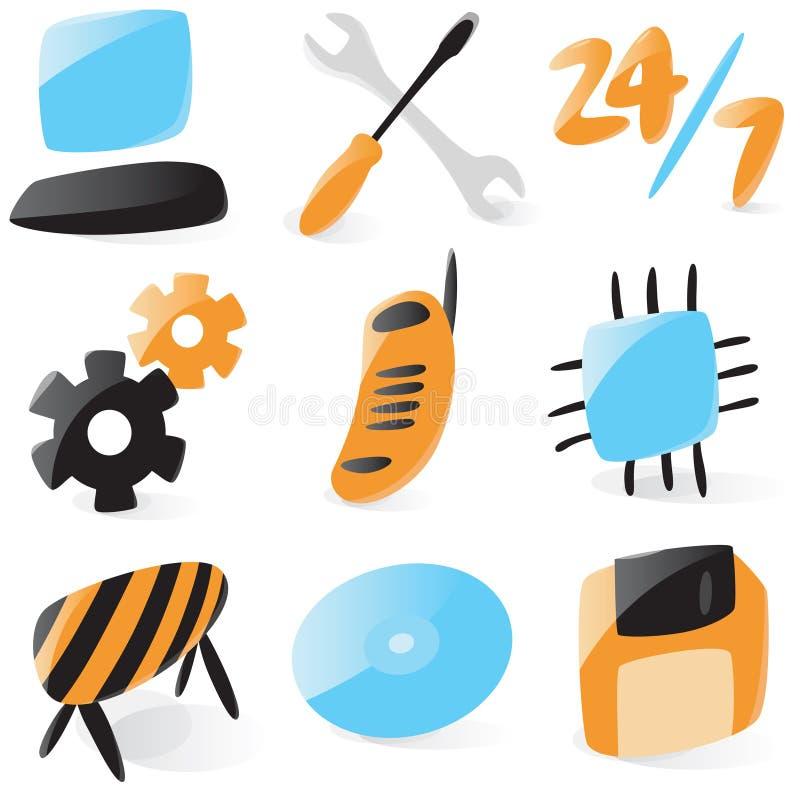 De vlotte pictogrammen van de computerdienst vector illustratie