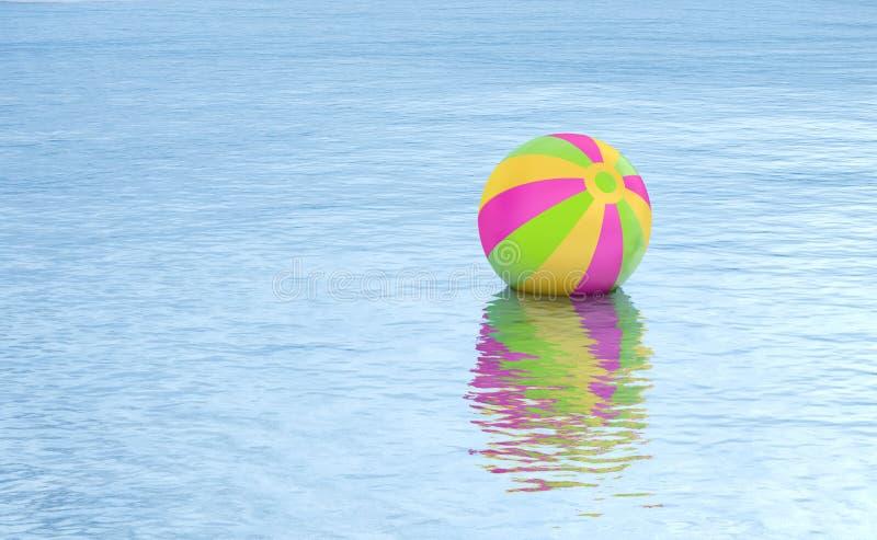De vlotter van de strandbal op waterachtergrond vector illustratie