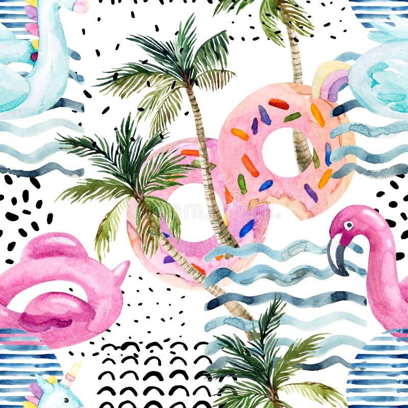 De vlotter van de de flamingopool van de waterkleur, doughnutlilo die op de achtergrond van de jaren '80jaren '90 drijven vector illustratie