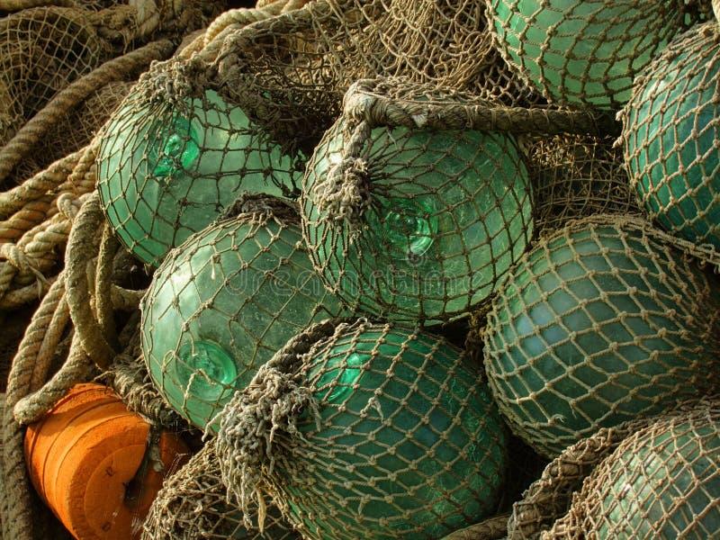 De vlotter van het glas, oude visserijnetten royalty-vrije stock foto's