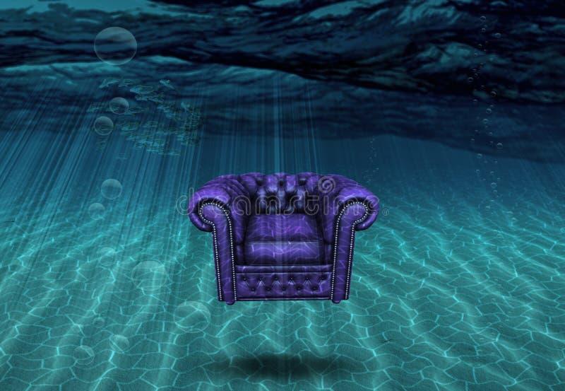 De vlotters van de wapenstoel boven bodem van overzees vector illustratie