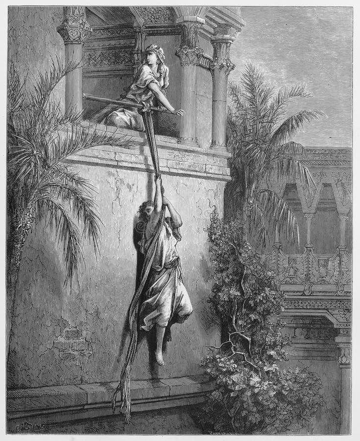 De vlucht van David door een venster royalty-vrije illustratie