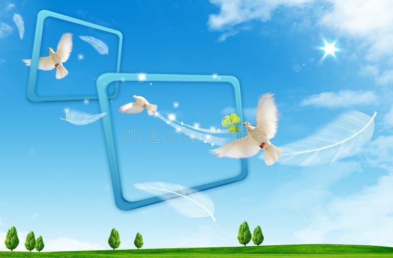 De vlucht van de vogel door kader van gebruikelijk royalty-vrije illustratie