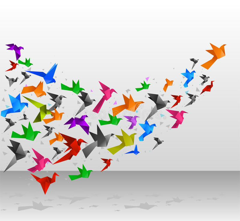 De vlucht van origamivogels royalty-vrije illustratie