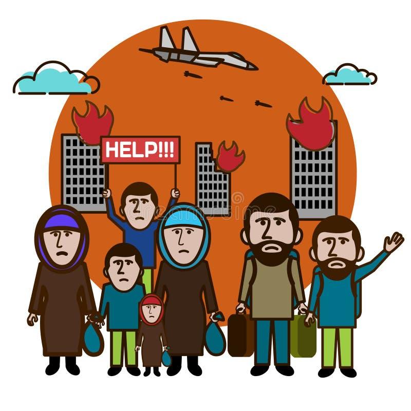 De vluchtelingen ontsnappen van het bombarderen Help ons Internationale migranten DA royalty-vrije illustratie