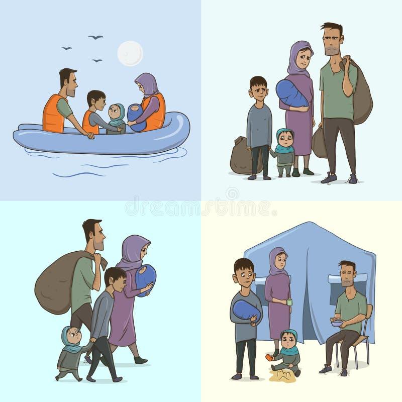De Vluchtelingsfamilie met Kinderen Het varen aan Europa op de Boot Het landovergang en Leven in het Vluchtelingskamp europees stock illustratie