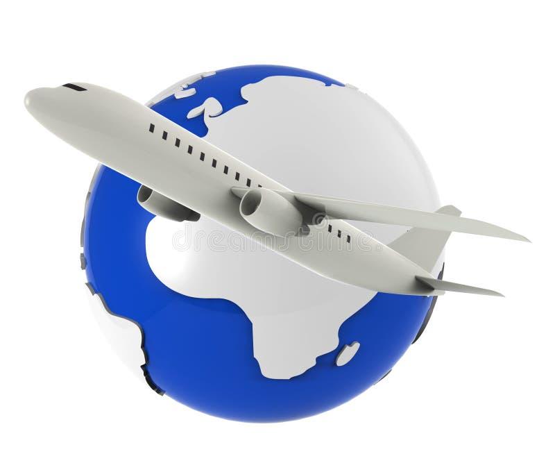 De Vluchten wereldwijd vertegenwoordigt Reisvliegtuig en Vliegtuig royalty-vrije illustratie