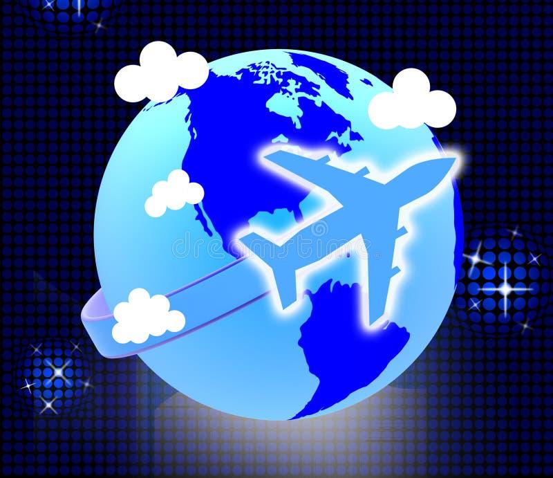 De vluchtenreis vertegenwoordigt Aarde het Reizen en Reizen stock illustratie