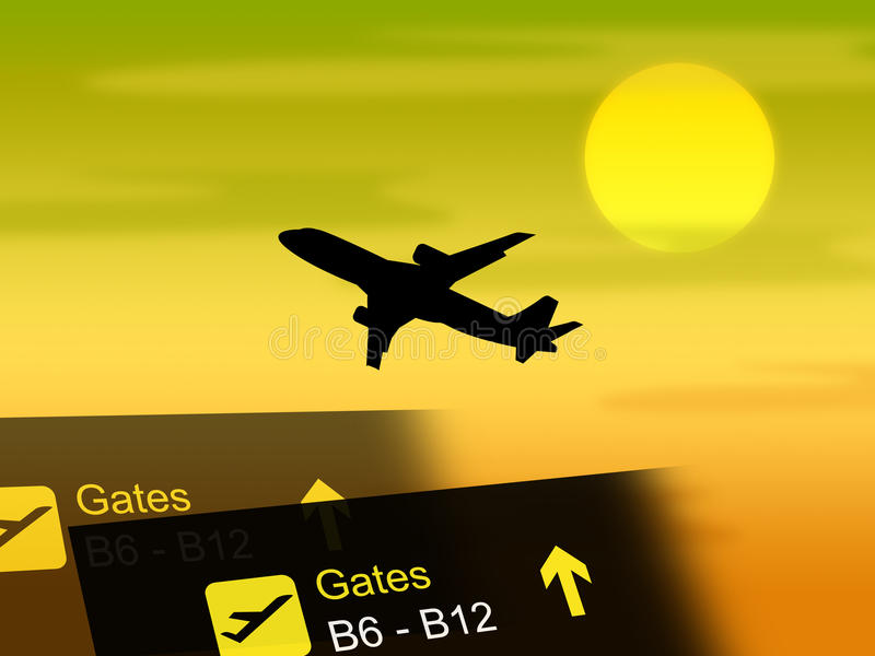 De vluchtvakantie toont het Vervoer en de Vluchten van Vacationing royalty-vrije illustratie
