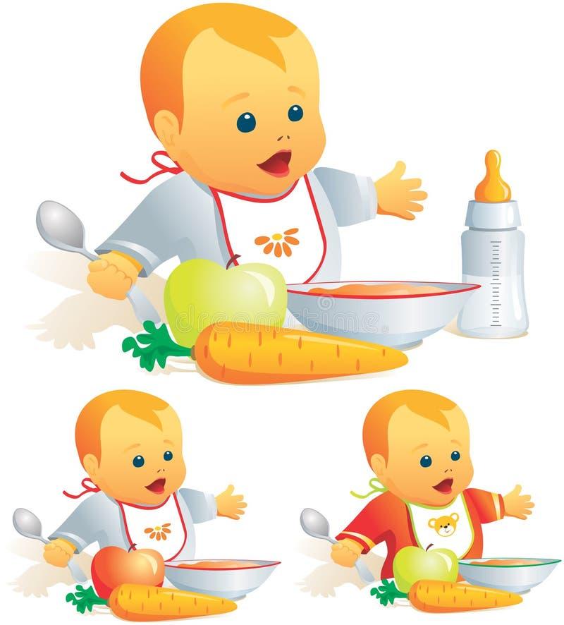 De voeding van de baby, stevig voedsel, mi royalty-vrije illustratie