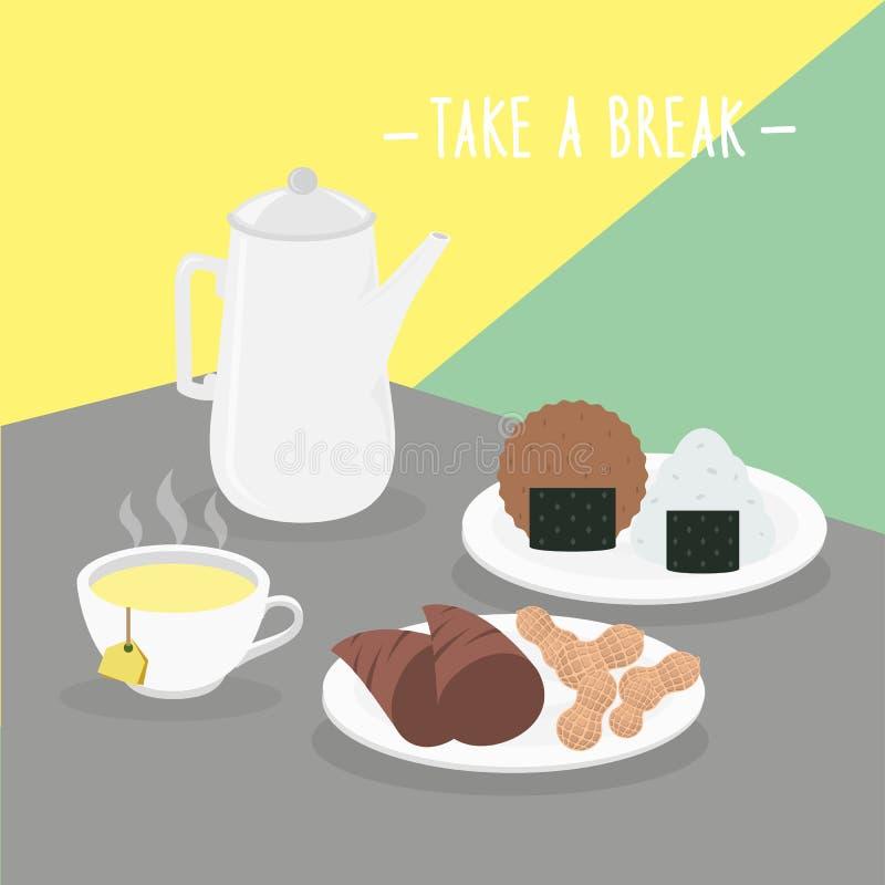 De voedselmaaltijd neemt een Onderbrekings Zuivelcook Eat Drink Menu Restaurantvector vector illustratie