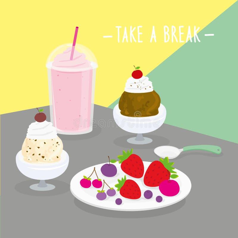 De voedselmaaltijd neemt een Onderbrekings Zuivelcook Eat Drink Menu Restaurantvector royalty-vrije illustratie