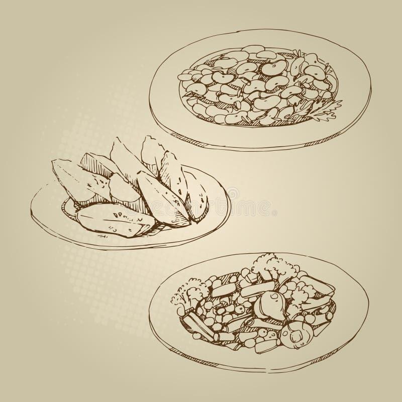 De voedselschets versiert boon, snijboon, stip, broccoli, versiert boon, snijboon, gestoofde geplaatste aardappels royalty-vrije stock fotografie