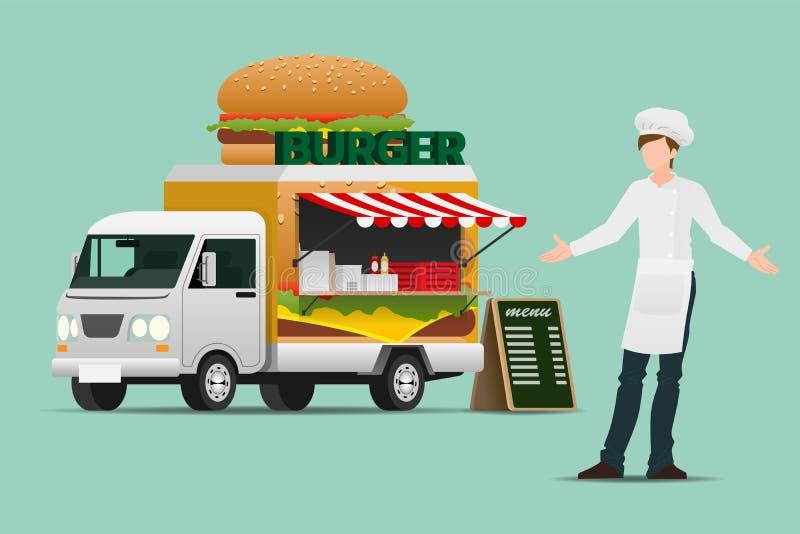 De voedselvrachtwagen, automobiele hamburger, klaar te dienen roosterde vlees en dranken in de openluchtatmosfeer als kleine onde royalty-vrije illustratie
