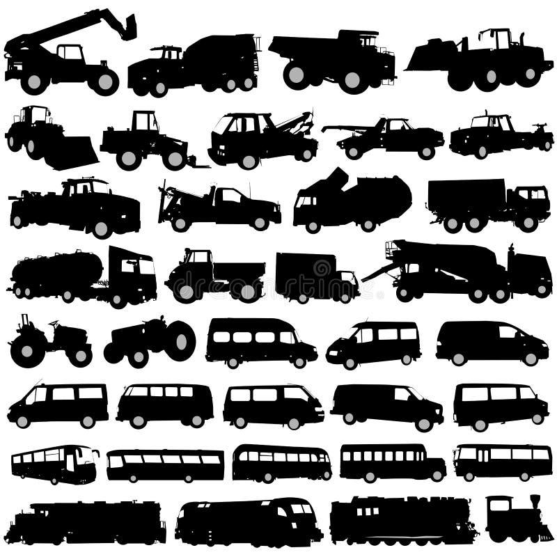 De voertuigen van het vervoer en van de bouw royalty-vrije illustratie