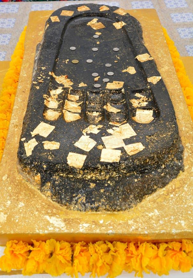 De voetafdruk van Boedha is een afdruk van Gautama Buddha ` s stock afbeeldingen