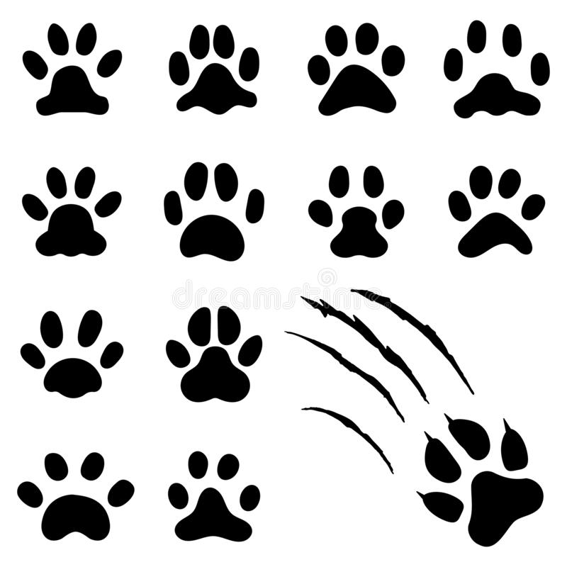 De voetafdruk van de huisdierenpoot De drukken van kattenpoten, katje betaalt of de druk van de hondvoet Het geïsoleerde vectorsy stock illustratie