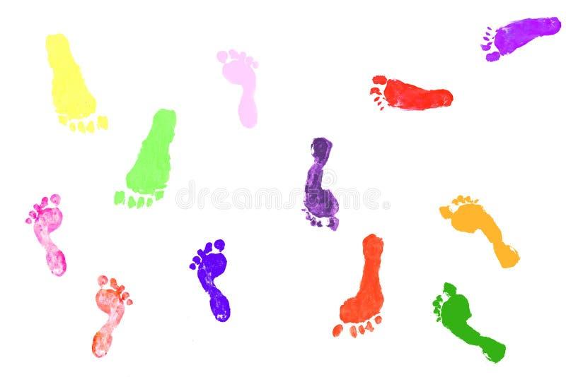 De voetafdrukken van kleurrijke kinderen royalty-vrije illustratie