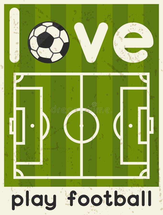De Voetbal van het liefdespel Retro affiche in vlak ontwerp stock illustratie