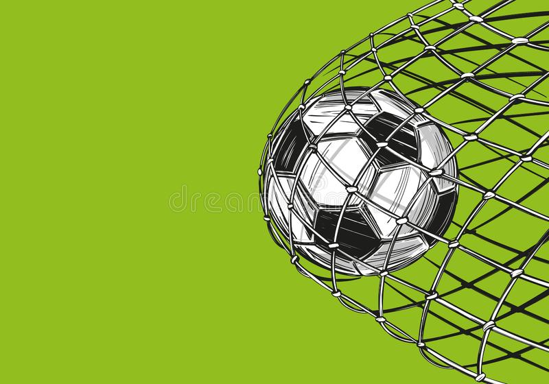 De voetbal, voetbalbal, doel kwam in de poort, winst, sportenspel, embleemteken, hand getrokken vectorillustratieschets vector illustratie
