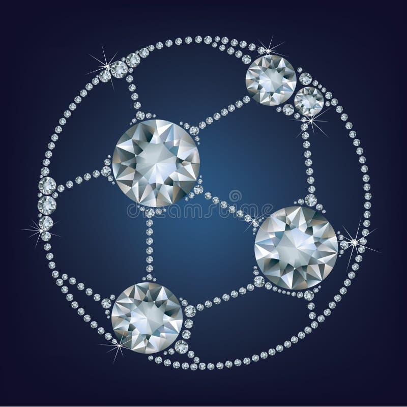 De voetbalbal maakte omhoog heel wat diamanten stock illustratie