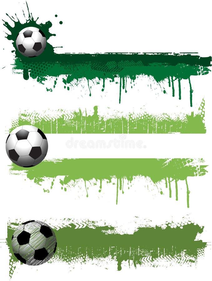 De voetbalbanners van Grunge stock illustratie