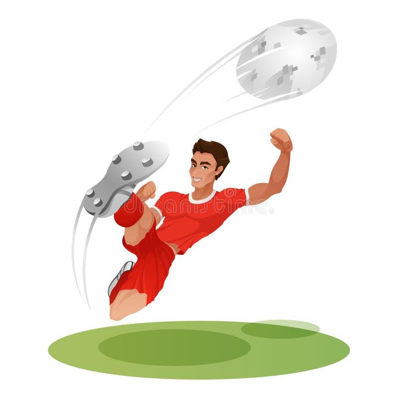 De voetballer maakt een klap op de bal in een sprong Voetbalster in Rusland 2018 royalty-vrije stock afbeelding