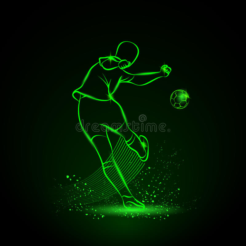 De voetballer schopt de bal Achter mening stock afbeelding