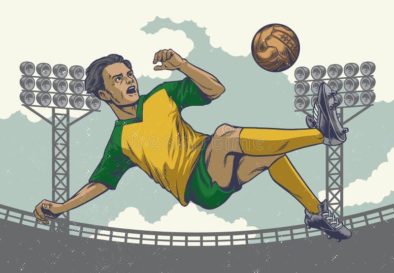De voetballer springende schop van de handtekening in retro stijl royalty-vrije illustratie
