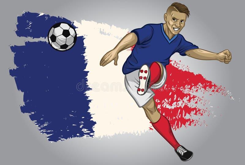 De voetballer van Frankrijk met vlagachtergrond royalty-vrije illustratie