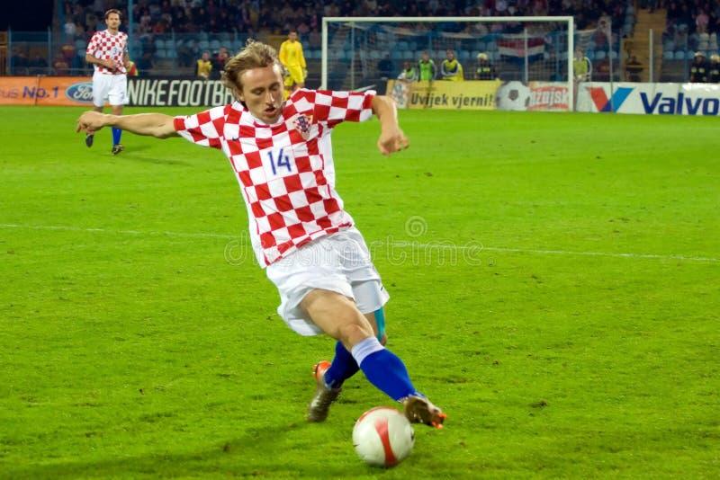 De voetballer van Modric van Luka stock afbeeldingen