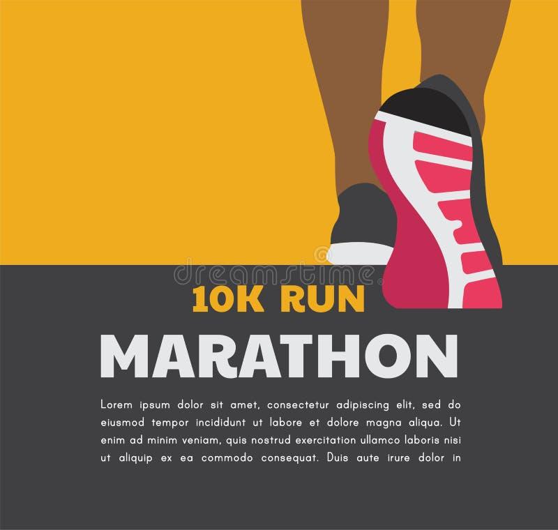 De voeten die van de atletenagent of op weg lopen lopen lopend affichemalplaatje de vector van de close-upillustratie vector illustratie