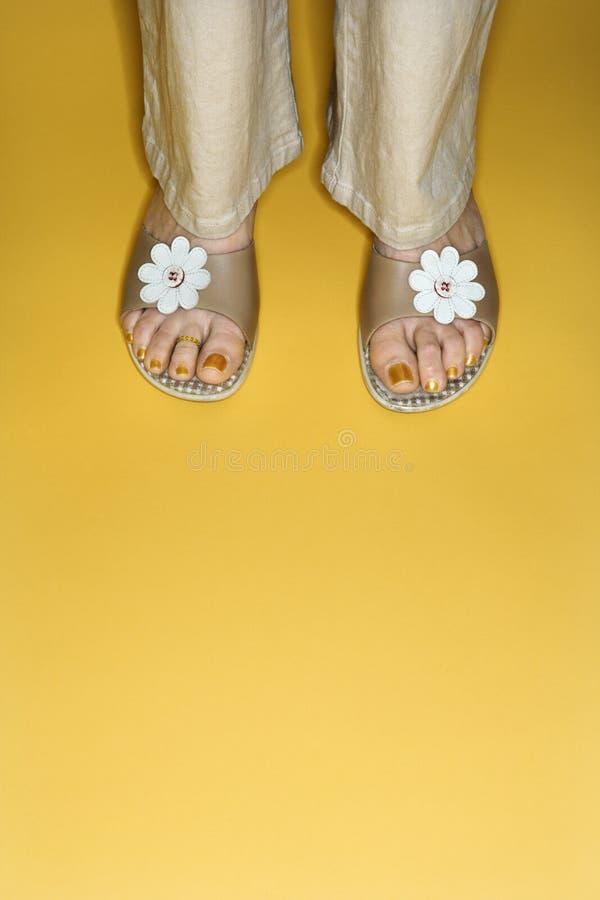 De voeten van de vrouw in bloemsandals. royalty-vrije stock foto's