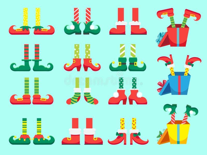 De voeten van het Kerstmiself Schoenen voor elfvoet, Santa Claus-helpers dwergbeen in broek Kerstmisheden en giften geïsoleerde v stock illustratie