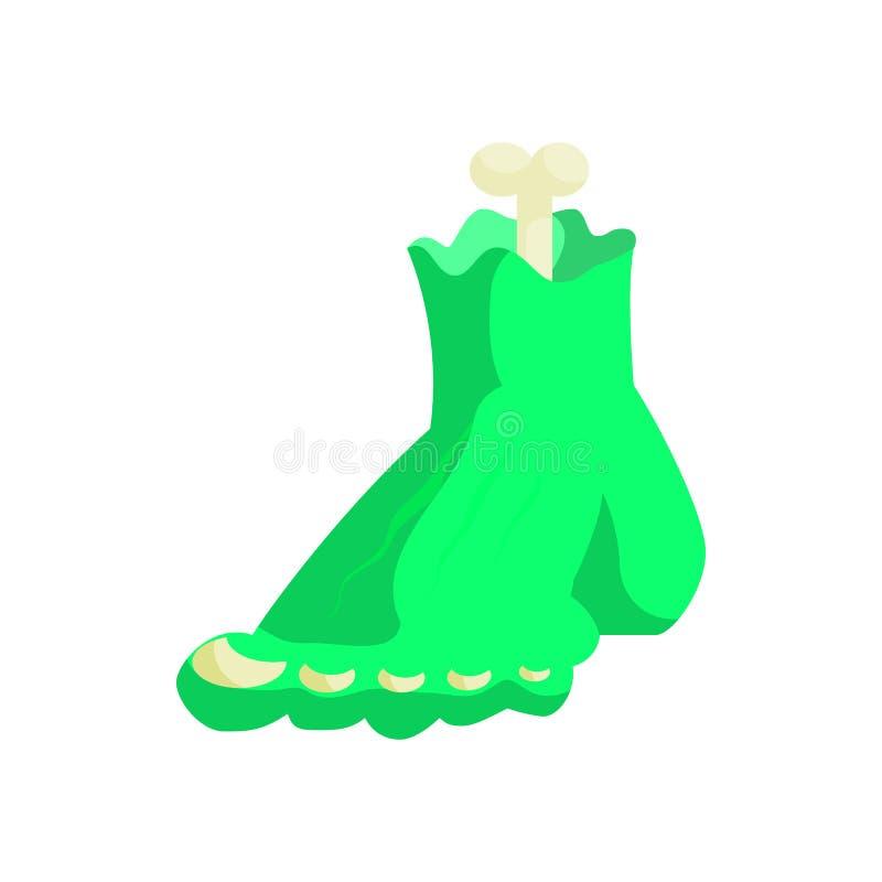 De voetpictogram van het zombie groen monster in beeldverhaalstijl stock illustratie