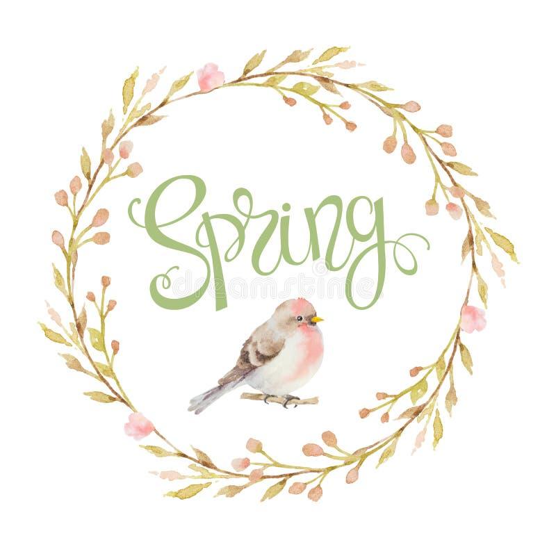 De vogel in een cirkelkader van de takken, de bloemen en de inschrijvingen springen op stock illustratie