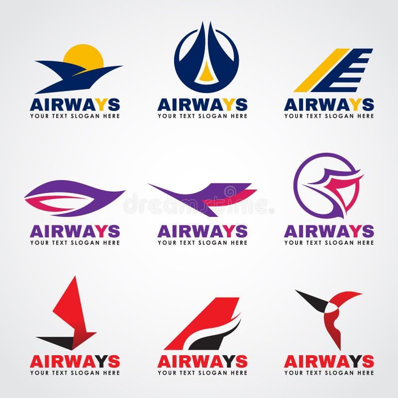 De vogel en het vliegtuig die van het luchtrouteembleem vector vastgesteld ontwerp vliegen royalty-vrije illustratie