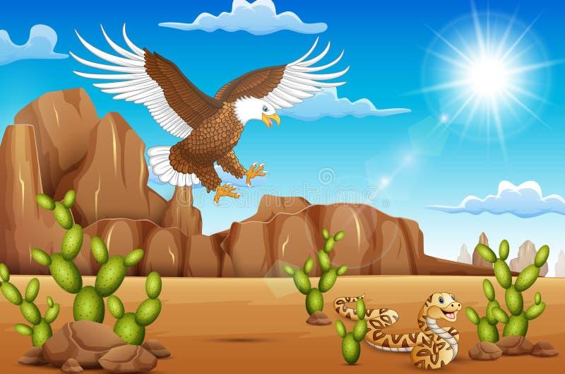 De vogel en de slang die van de beeldverhaaladelaar in de woestijn leven royalty-vrije illustratie