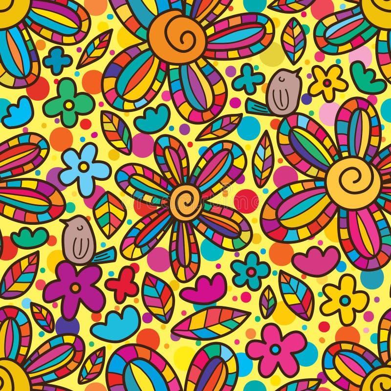 De vogel geniet het centrum van kleurrijk naadloos patroon van de bloemwerveling vector illustratie