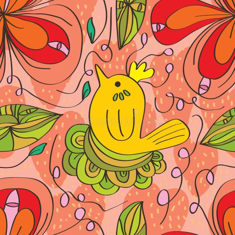 De vogel naadloos patroon van de bloemwerveling stock illustratie